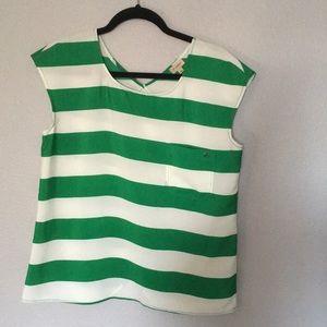 Dillard's cremieux green/wht stripe shirt/not worn